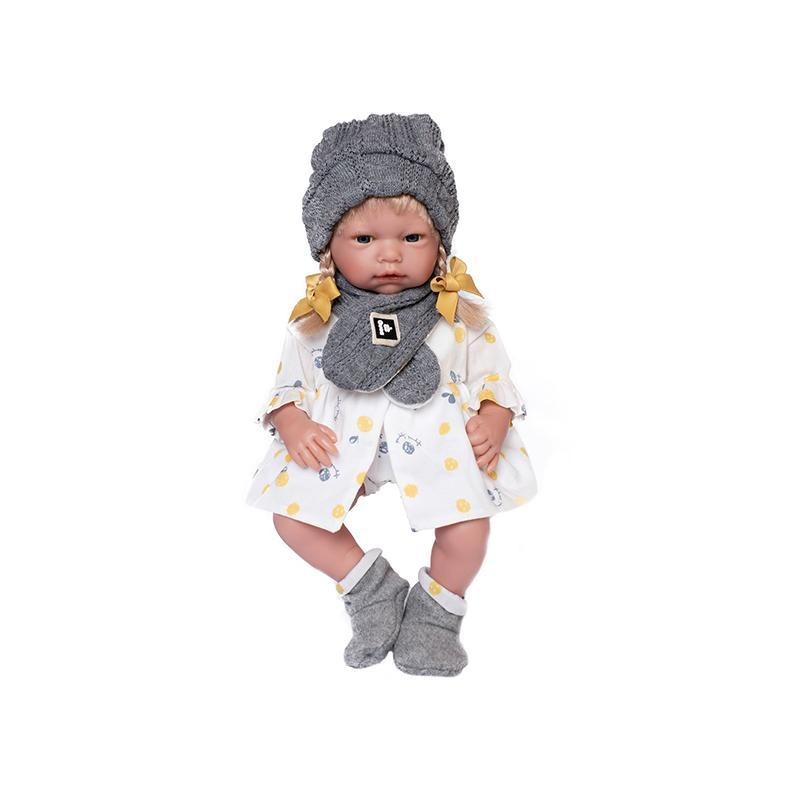 Papusa bebelus realist Clara, cu par blond, 38 cm, Guca