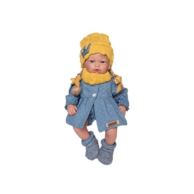 Papusa bebelus realist Ana, cu par blond, 38 cm, Guca