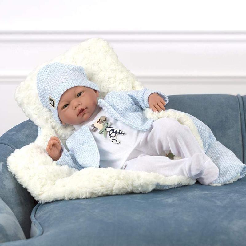 Papusa bebelus realist Diego, fara par, 46 cm, Guca