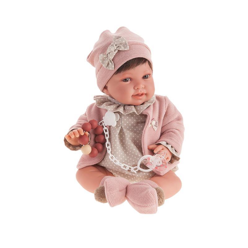 Papusa fetita Pipa bruneta cu buline, roz pal-gri, Antonio Juan