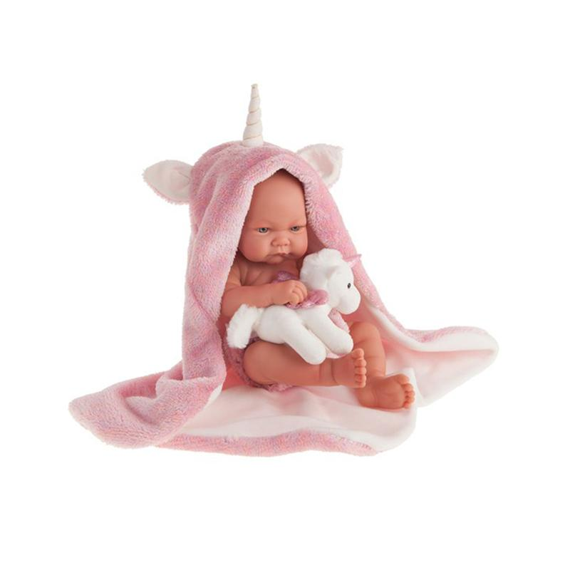 Papusa bebe realist Nica cu prosopel unicorn, corp realist anatomic, Antonio Juan