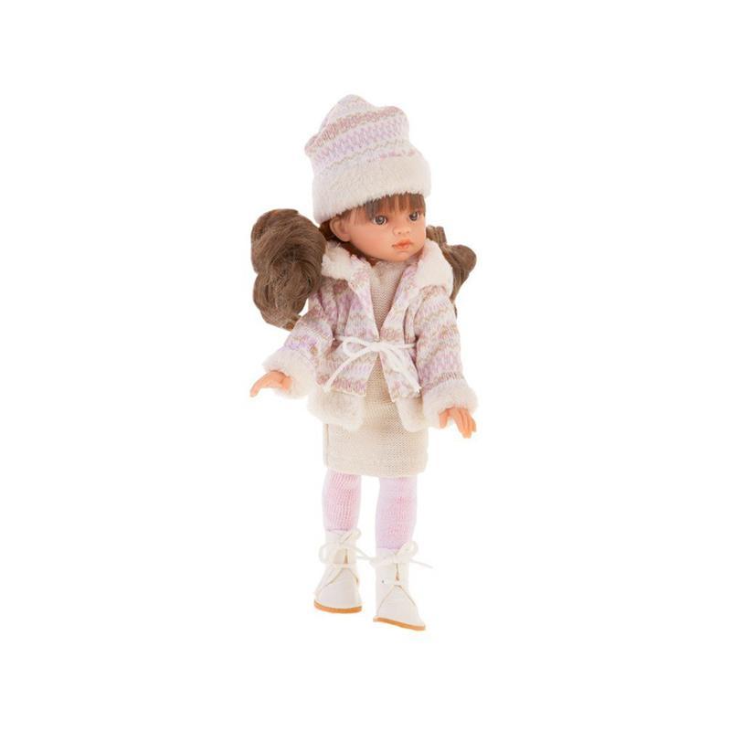 Papusa fetita Emily satena cu tinuta de iarna, alb-roz pal, Antonio Juan