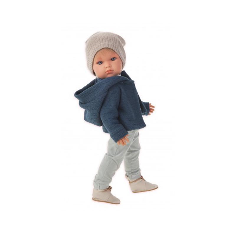 Papusa baietel Ben cochet la plimbare, bleumarin-gri, Antonio Juan