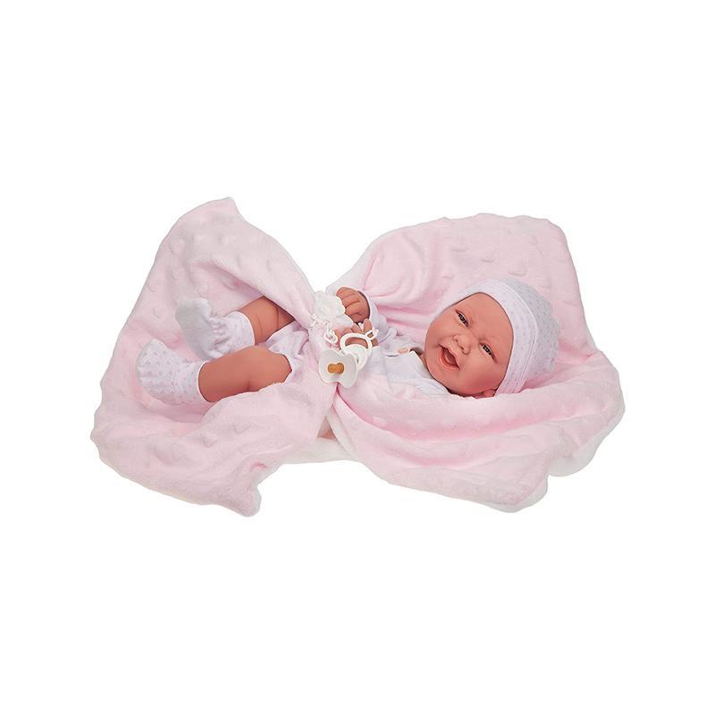 Papusa bebe realist Carla Reborn cu paturica pufoasa inimioare, corp anatomic corect, roz-alb, Antonio Juan