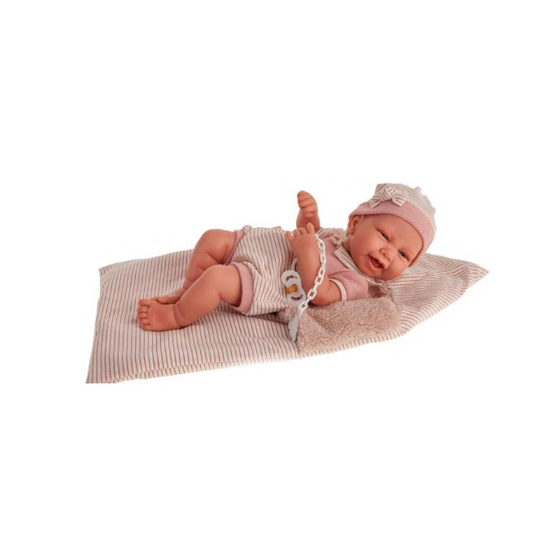 Papusa bebe realist Carla cu sac de dormit pufos, corp anatomic corect, roz pal, Antonio Juan