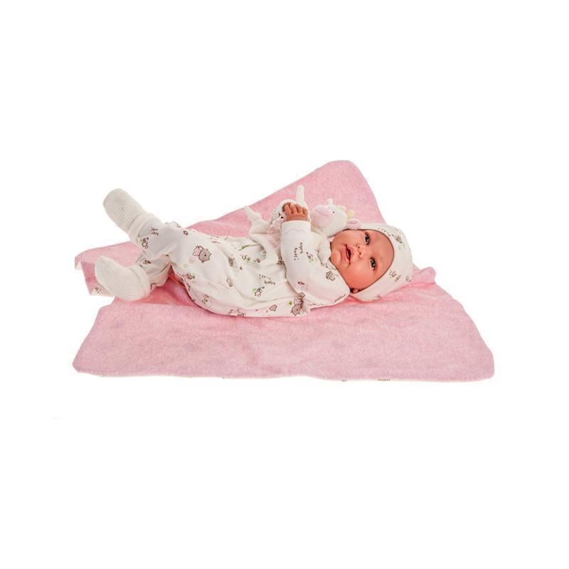 Papusa bebe realist Daniela Reborn cu paturica si vacuta de plus, alb-roz pal, Antonio Juan