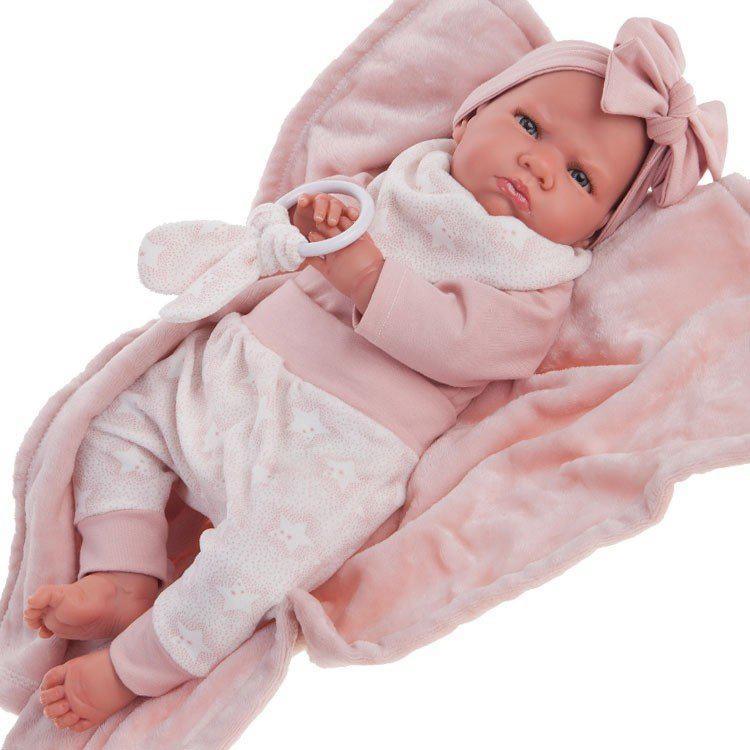 Papusa bebe realist Mi primer Reborn Berta Estrellas cu paturica, roz, Antonio Juan