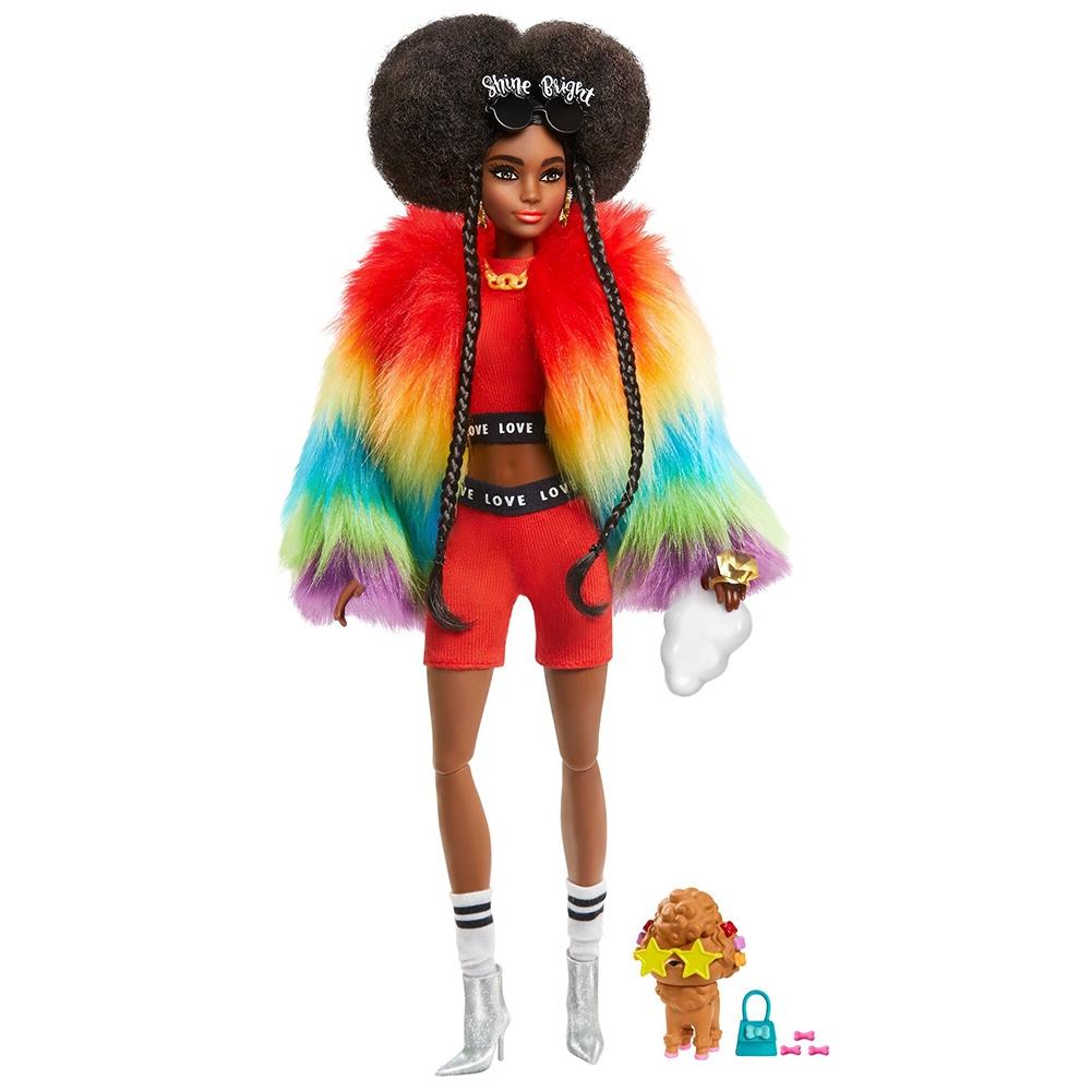 Papusa Barbie by Mattel Extra Style Curcubeu GVR04 cu figurina si accesorii
