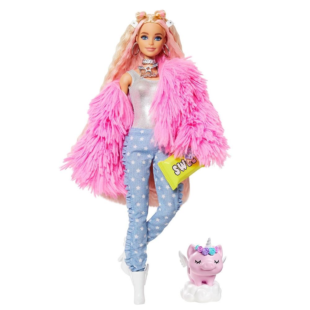 Papusa Barbie by Mattel Extra Style Fluffy Pinky GRN28 cu figurina si accesorii