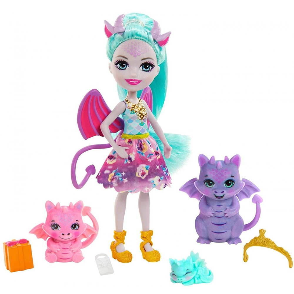 Papusa Enchantimals by Mattel Deanna Dragon Family cu 3 figurine si accesorii
