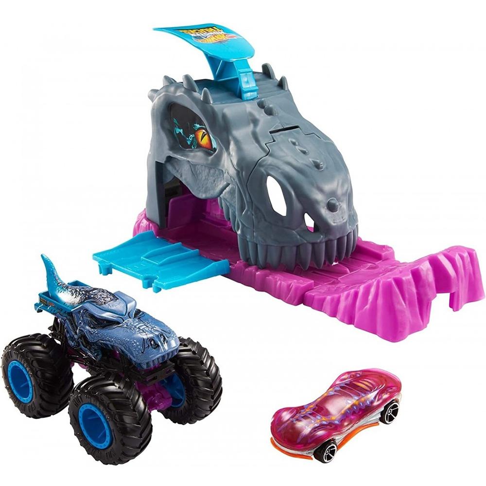 Pista de masini Hot Wheels by Mattel Monster Truck Pit and Launch Team Mega Wrex cu 2 masinute