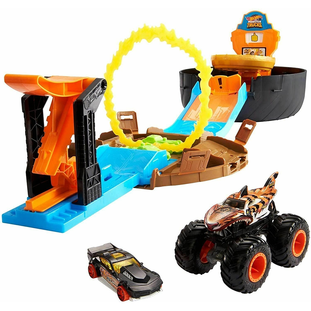Pista de masini Hot Wheels by Mattel Monster Truck Stunt Tire cu 2 masinute