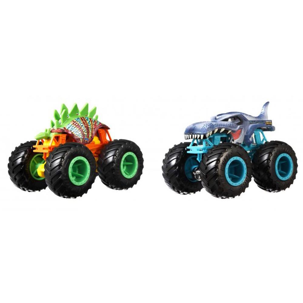 Set Hot Wheels by Mattel Monster Trucks Motosaurus vs Mega Wrex