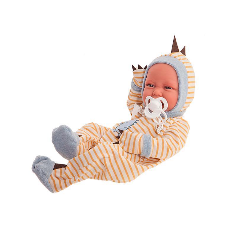 Papusa baietel Bebelus nou nascut, Carlo cu pijama dinozaur, 42 cm, Antonio Juan