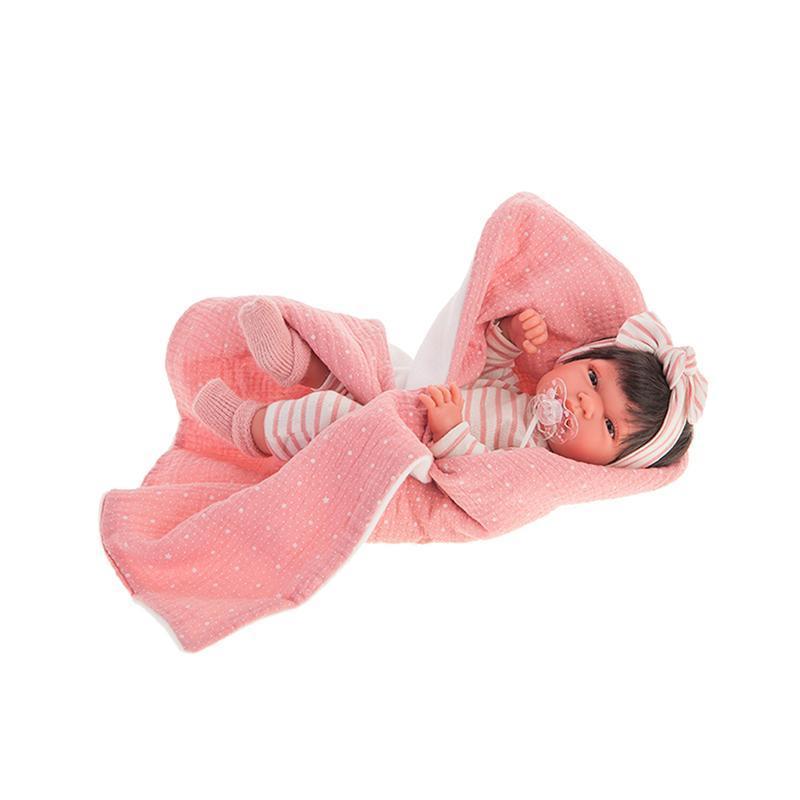 Papusa fetita, bebelus nou nascut Toneta cu par, 33 cm Antonio Juan