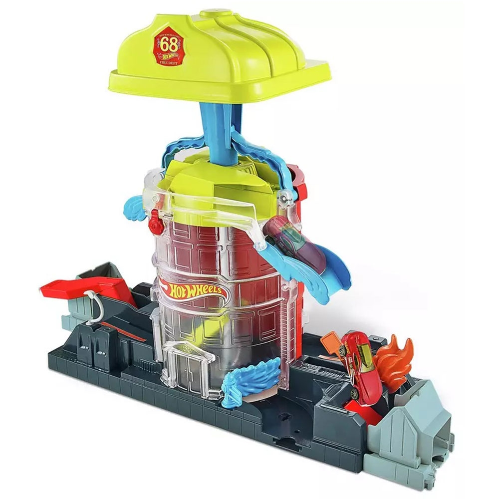 Pista de masini Hot Wheels by Mattel City Fire House Rescue cu 1 masinuta