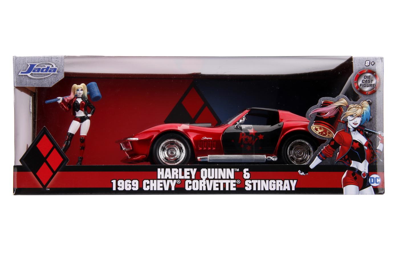 Masinuta din metal harley quinn 1969 chevy corvette scara 1:24