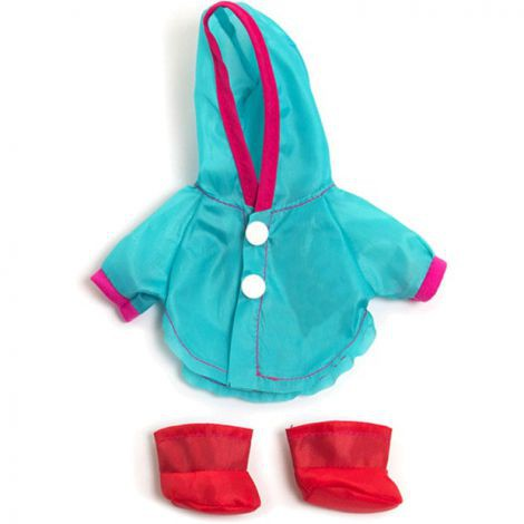 Set pelerina ploaie si cizmulite pentru papusa fetita 21 cm