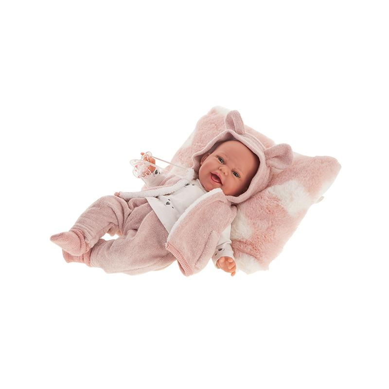 Papusa Bebelus nou nascut Clara Chaleco cu pernita si vestuta, 34 cm, Antonio Juan