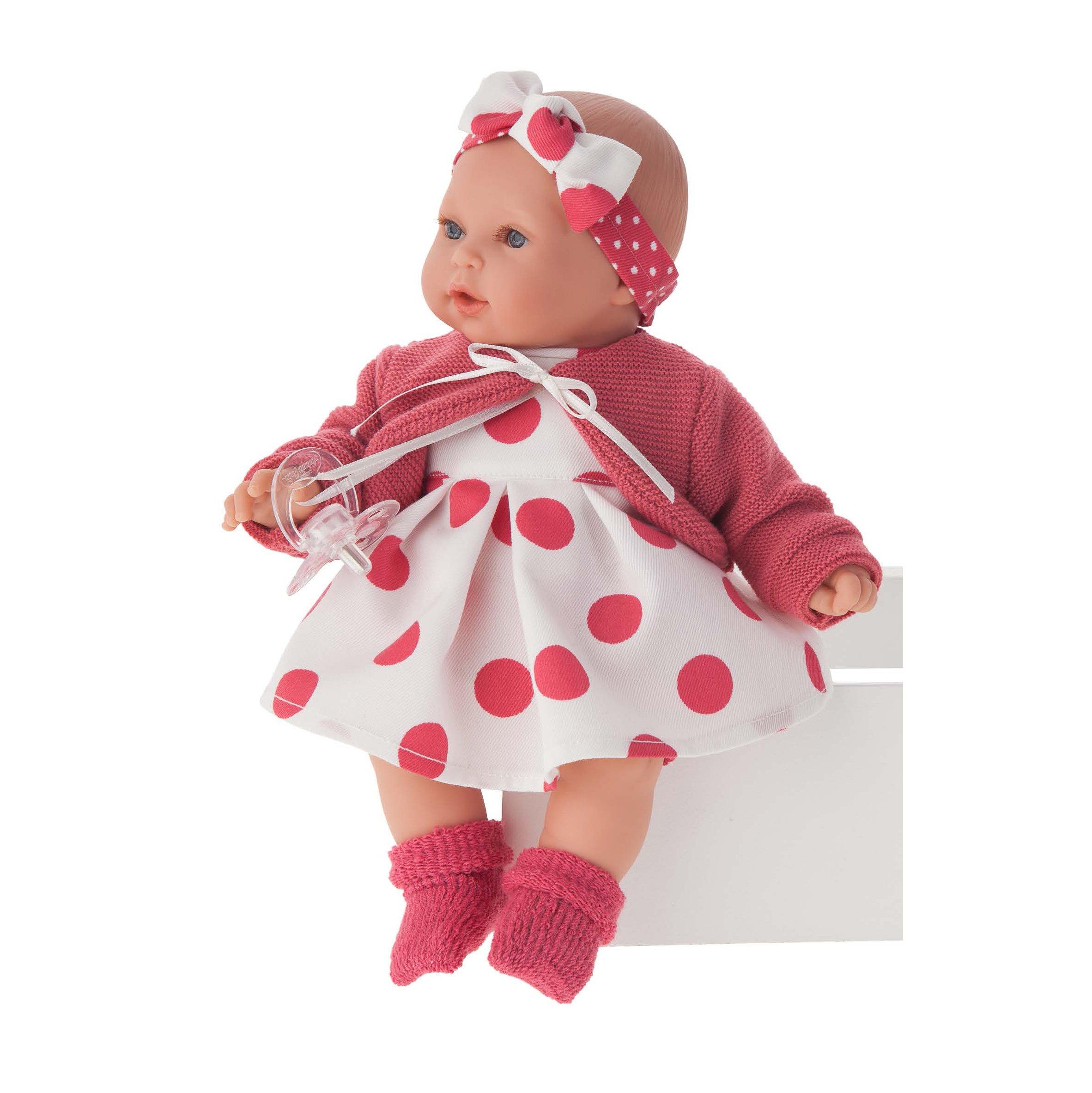 Papusa fetita cu mecanism Kika Lunares Rojos, cu hainute rosii, 27 cm, Antonio Juan