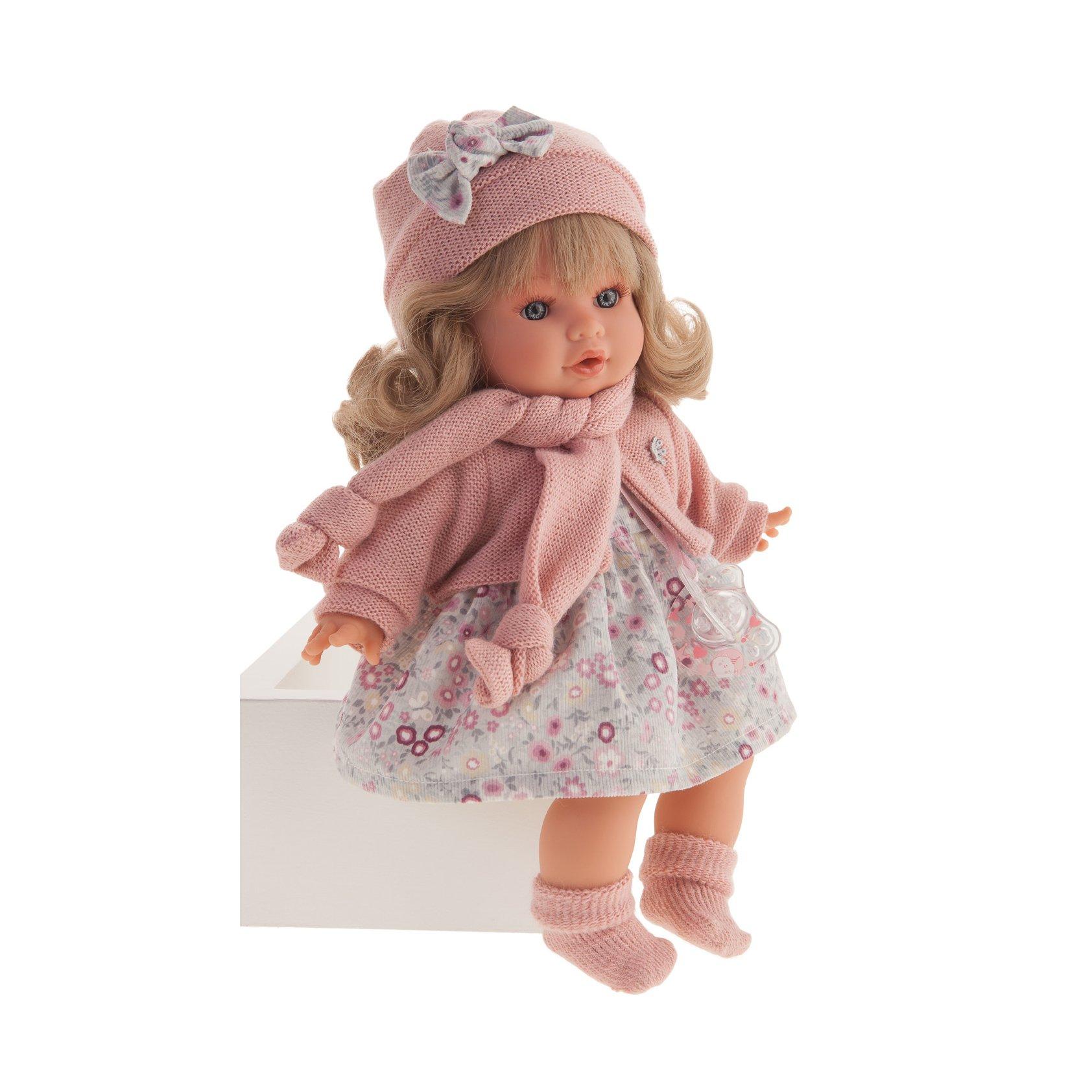 Papusa fetita Dato Melenita blonda cu rochita roz si accesorii crosetate, cu sunet, Antonio Juan