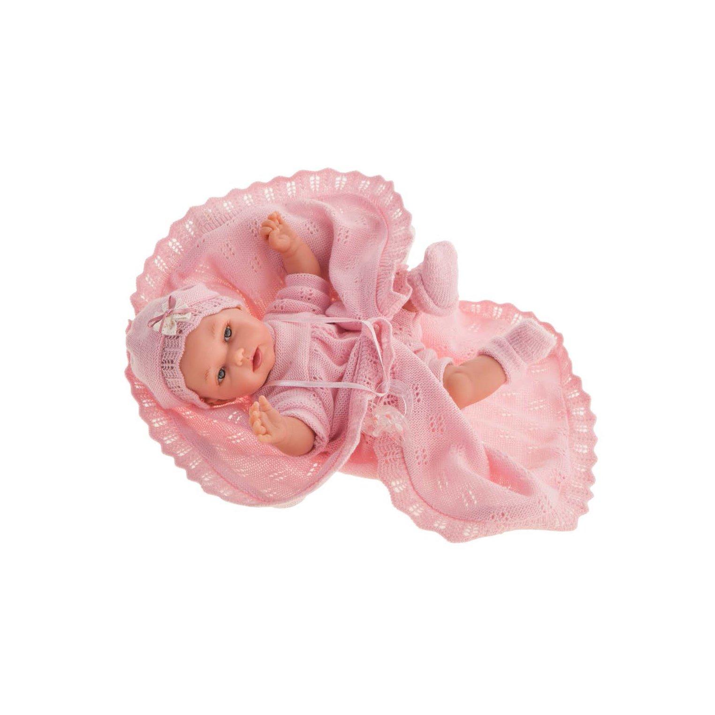 Papusa fetita Peke posturitas, cu patutrica roz, 29 cm, Antonio Juan