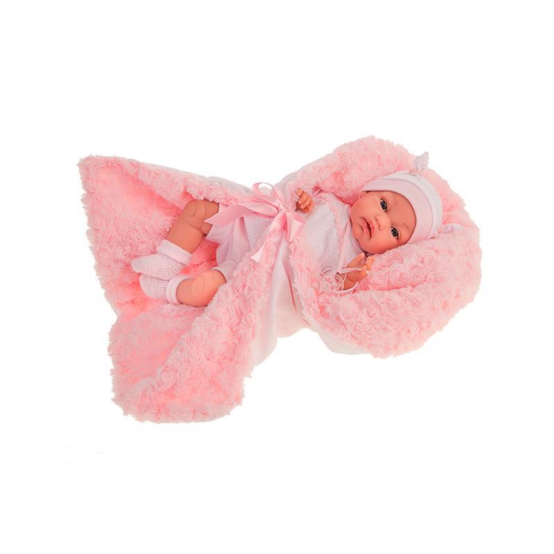 Papusa fetita, bebelus nou nascut Toneta, cu mecanism de ras, 34 cm, Antonio Juan