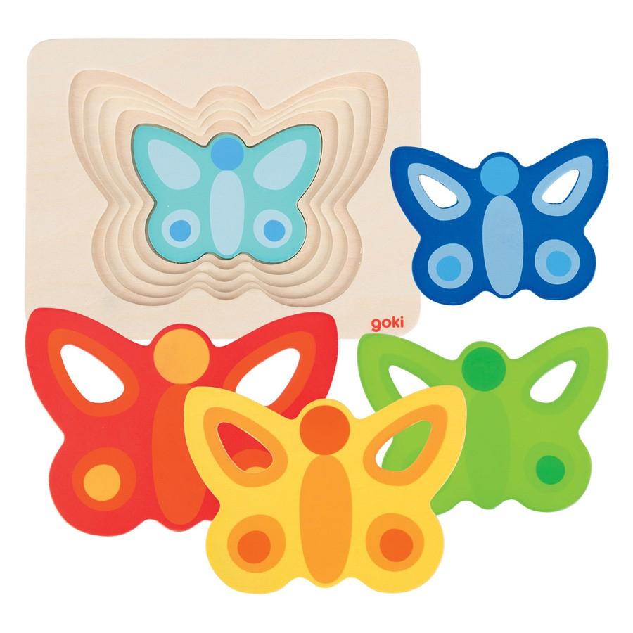 Puzzle incastru fluturasi colorati