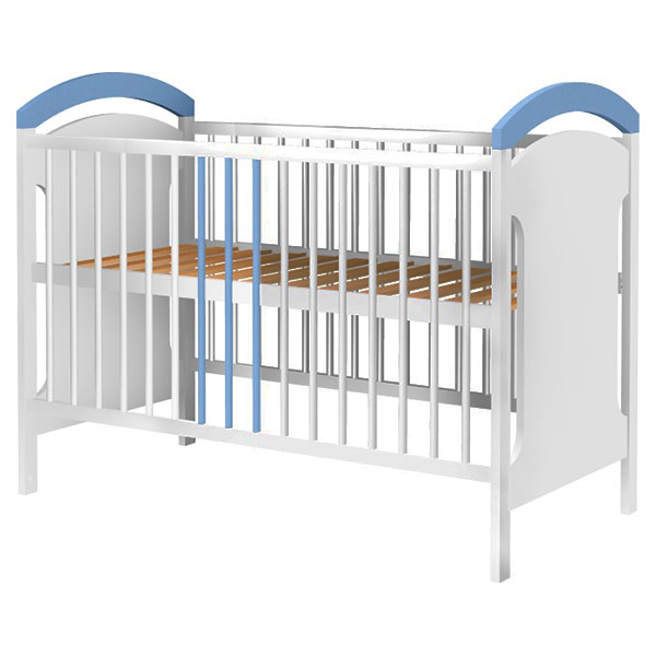 Patut Copii Din Lemn Anita 120x60 Cm Alb-albastru