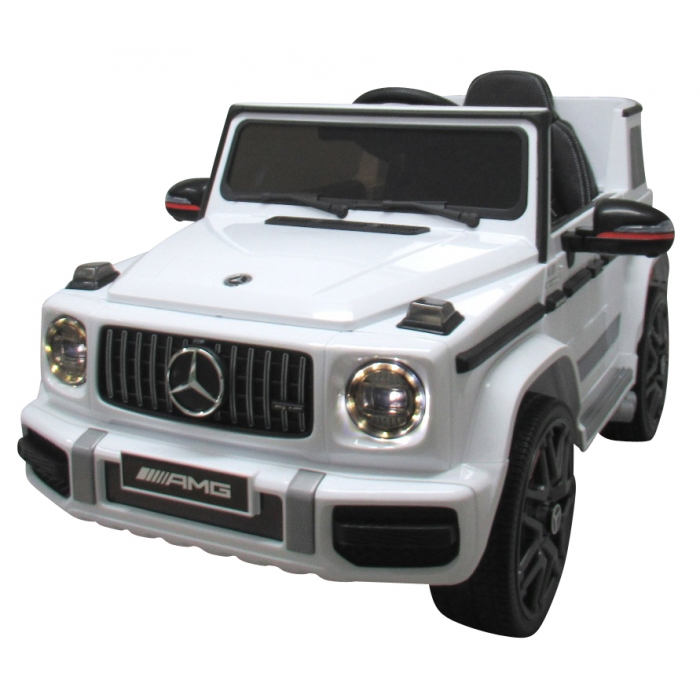 Masinuta electrica cu telecomanda, roti eva, scaun piele mercedes g63 - alb