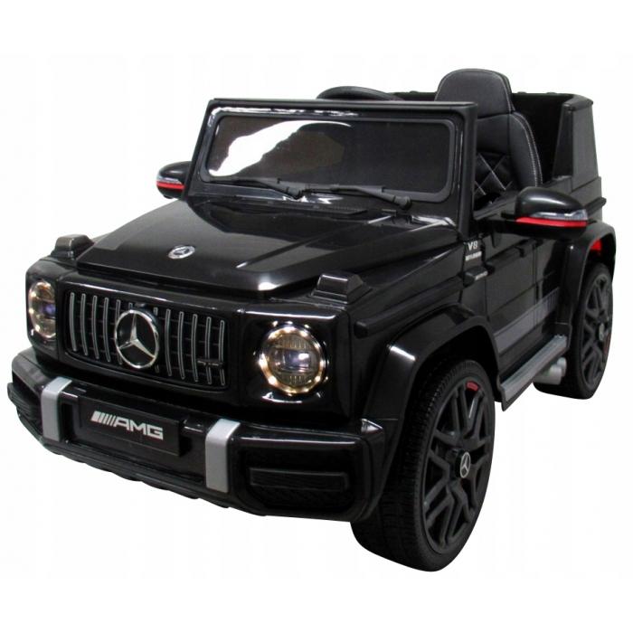 Masinuta electrica cu telecomanda, roti eva, scaun piele mercedes g63 - negru