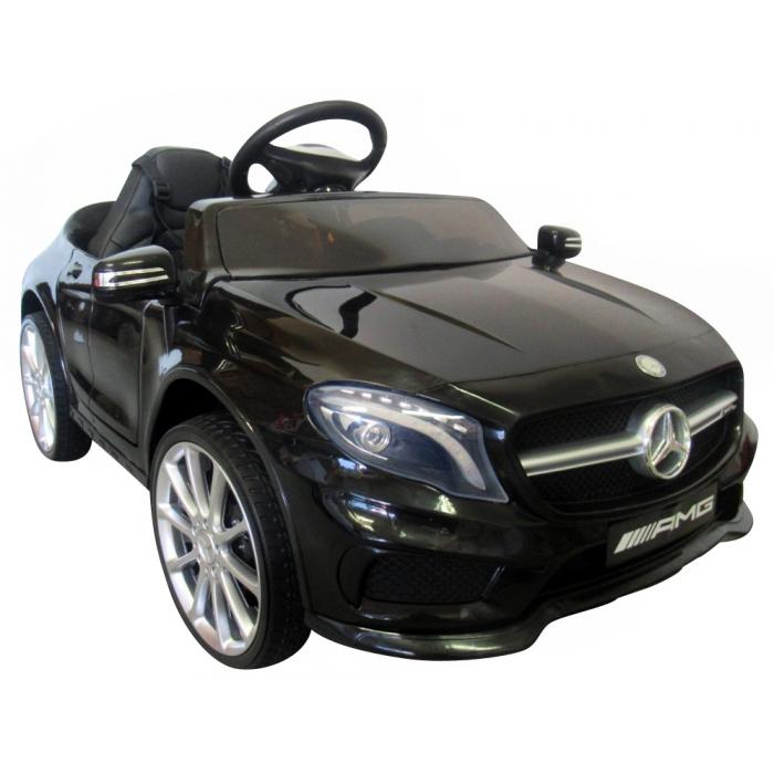 Masinuta electrica cu telecomanda, roti eva, scaun piele mercedes gla45 - negru