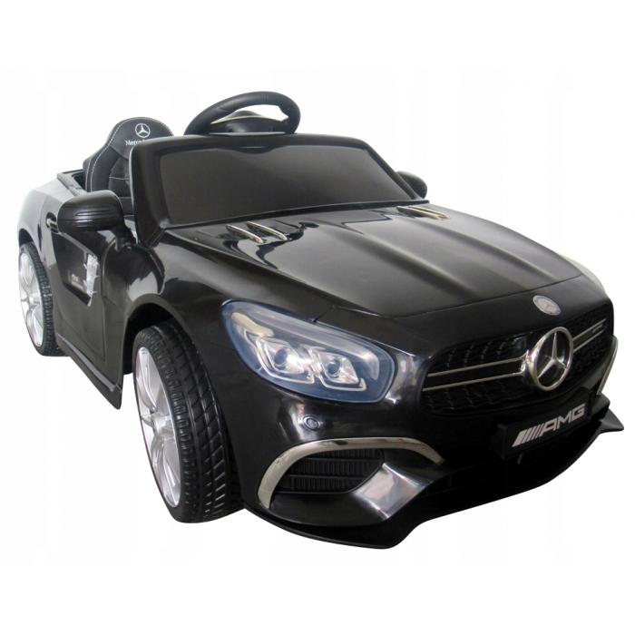 Masinuta electrica cu telecomanda, roti eva, scaun piele mercedes sl63 - negru