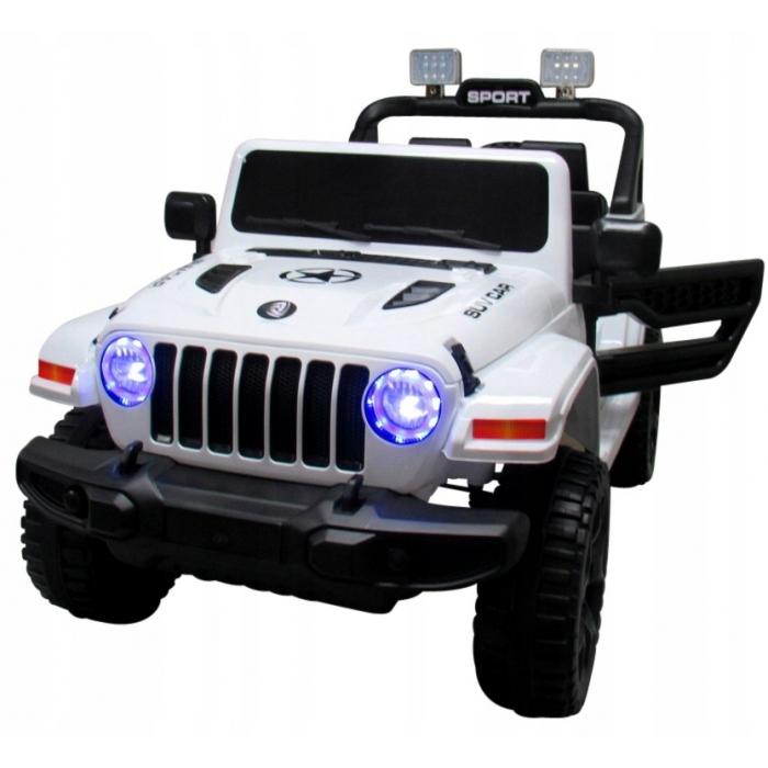 Masinuta electrica cu telecomanda cu baterii si functie de balansare jeep x10 ts-159 r-sport - alb