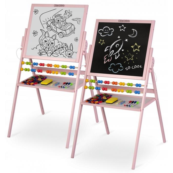 Tabla 2 in 1 pentru copii cu creta sau marker/magnetica, abac, set de creta colorata si markere, burete, cifre si litere magnetice, ricokids 780002, roz image0