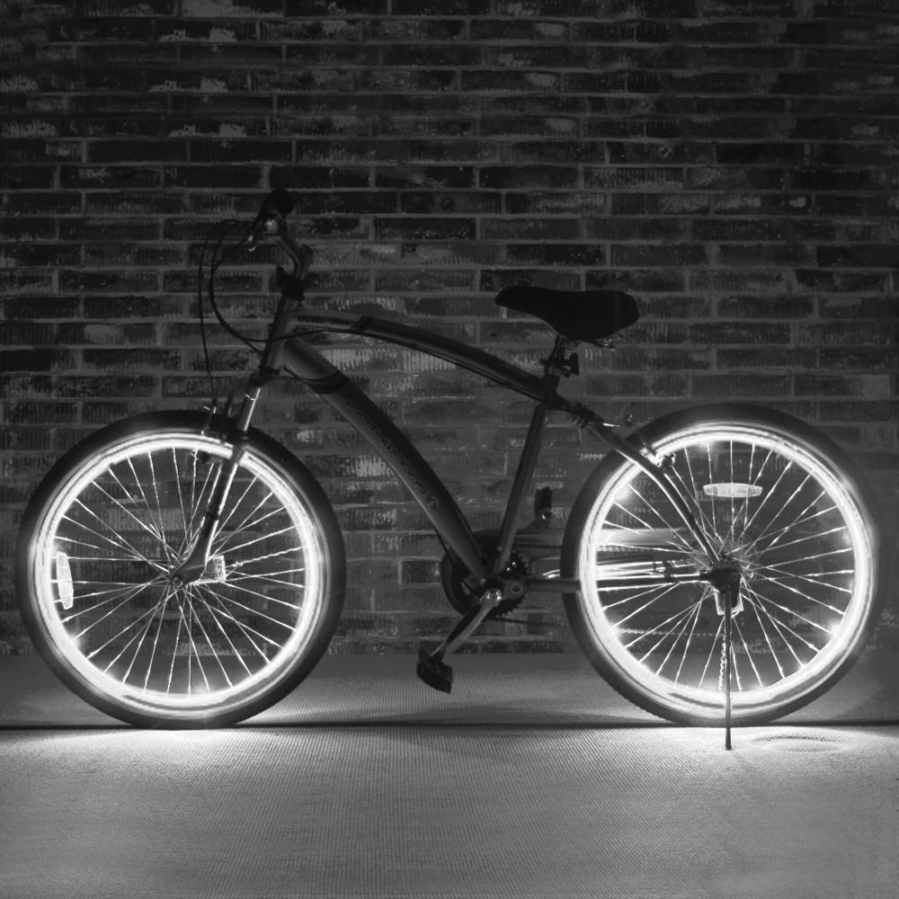 Kit fir luminos el wire pentru tuning roti bicicleta, lungime 4 m, invertoare incluse culoare alb