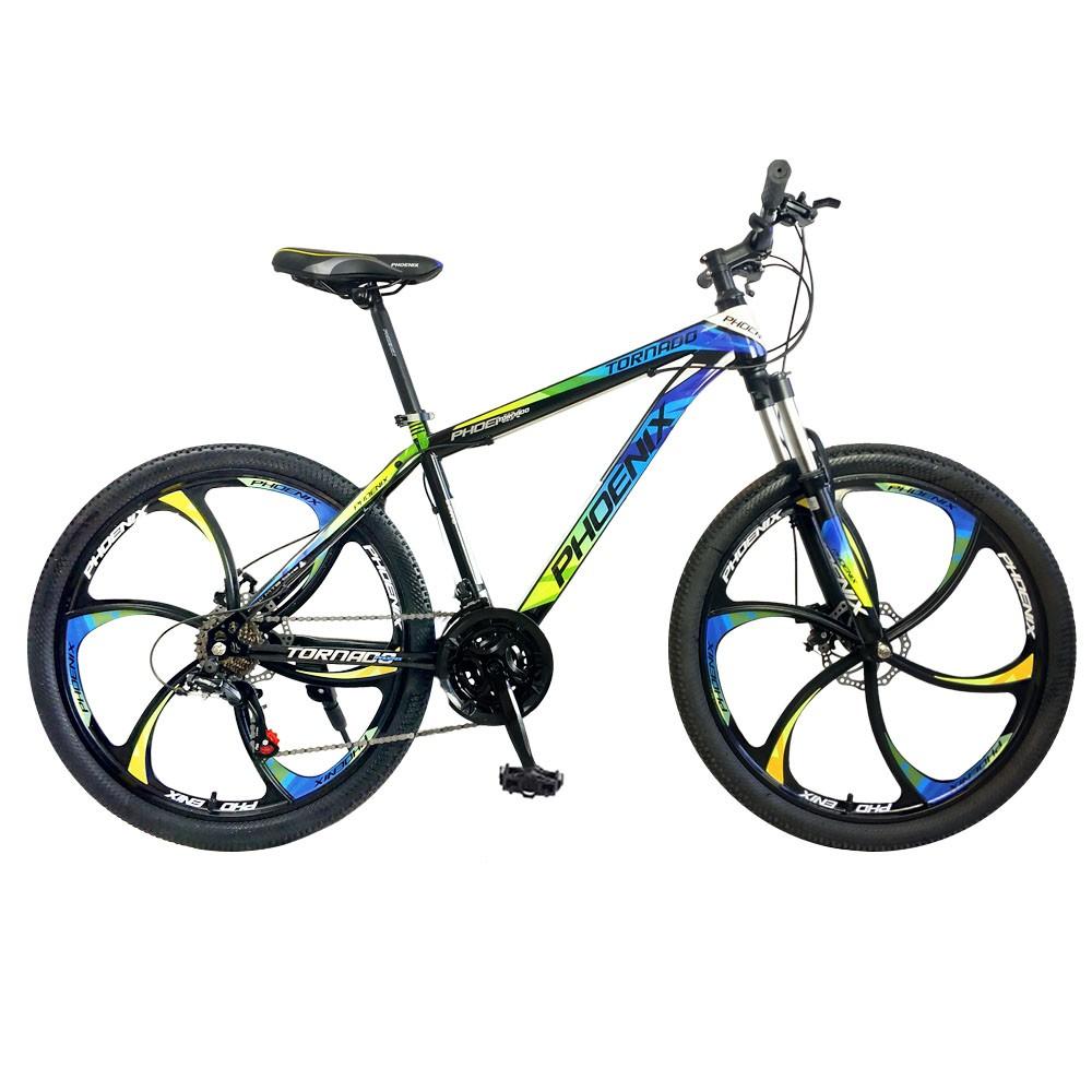 Bicicleta mountain bike 26 inch, cadru otel, frane pe disc, 21 viteze shimano, albastru-galben, tornado phoenix