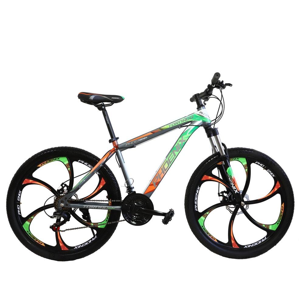 Bicicleta mtb hardtail 26 inch, shimano 21 viteze, cadru otel, portocaliu-verde, tornado phoenix
