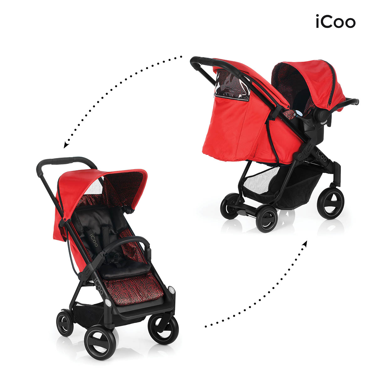 Set Carucior Acrobat Shop'n Drive Fishbone Red - Icoo