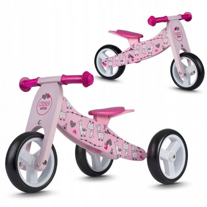 Bicicleta din lemn fara pedale 2 in 1 ricokids rc-617, roz