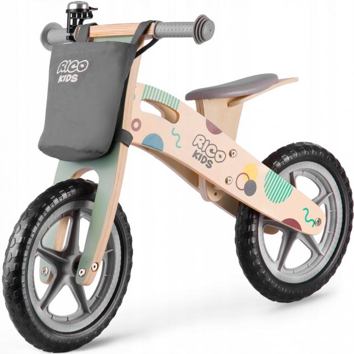 Bicicleta din lemn fara pedale ricokids rc-610, gri
