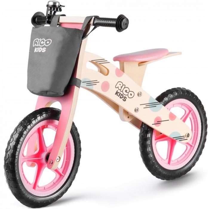 Bicicleta din lemn fara pedale ricokids rc-611, roz