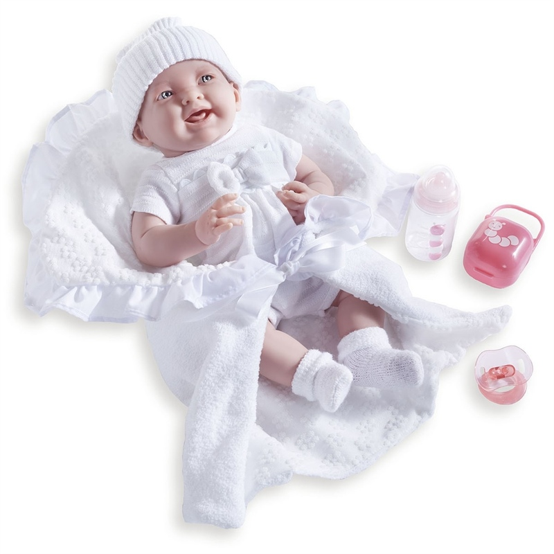 Jucarie bebelus 39 cm cu trusou alb si suzeta cu etui si biberon