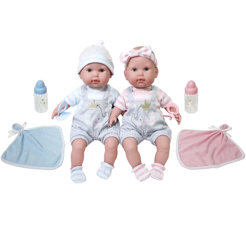 Jucarie set bebelusi gemeni 38 cm corp moale, paturica si suzeta