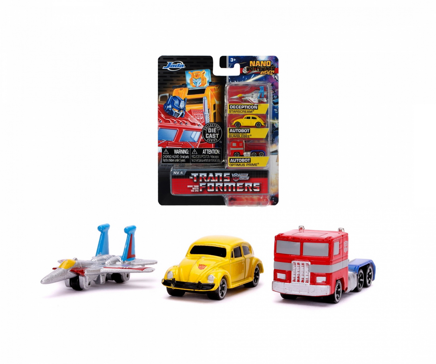 Transformers set 3 nano masinute metalice 4cm