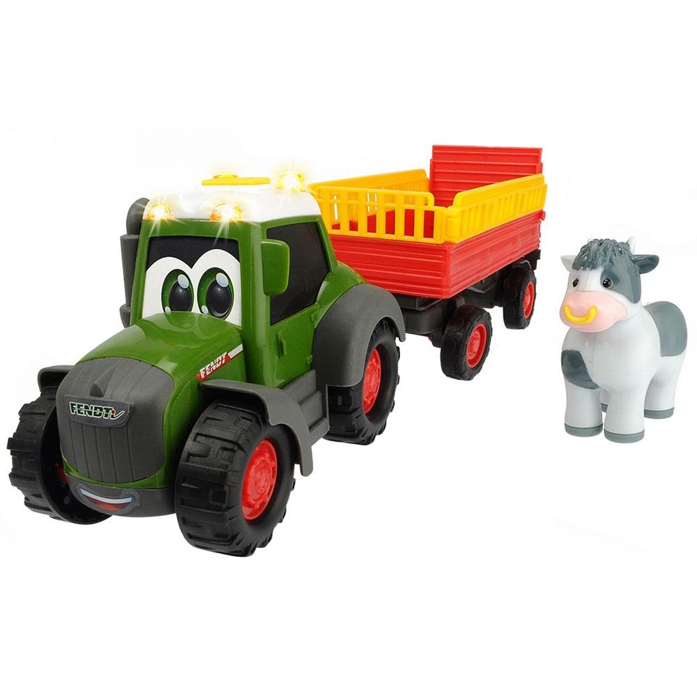 Tractor Dickie Toys Happy Fendt Animal Trailer cu remorca si figurina vaca