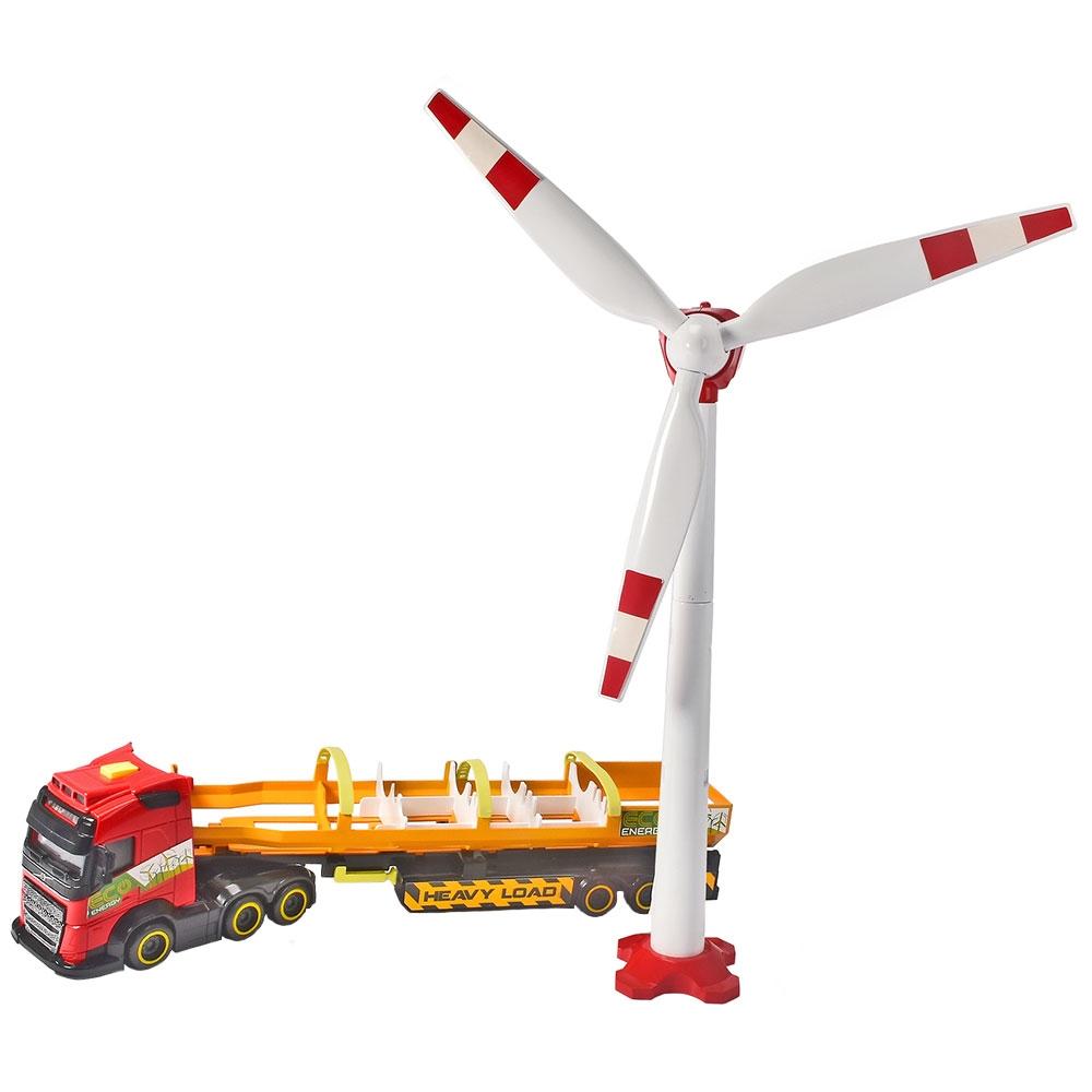 Set Dickie Toys Heavy Load Truck camion Volvo FH16 cu remorca si turbina eoliana