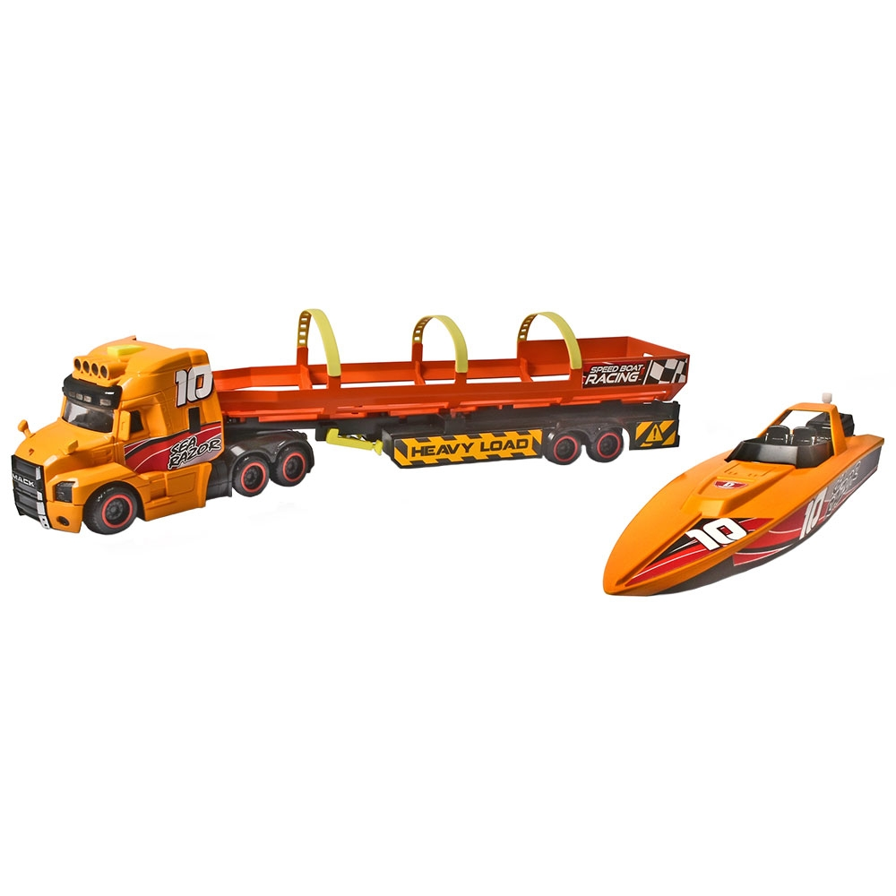 Set Dickie Toys Sea Race Truck Camion cu remorca si barca