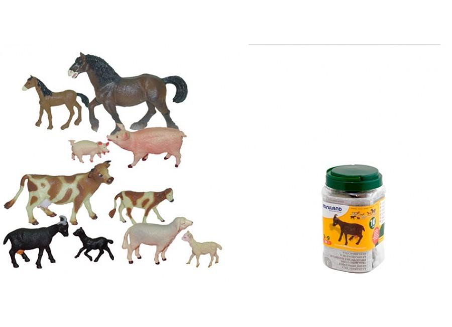 Animale Domestice Cu Puii Set De 10 Figurine - Miniland