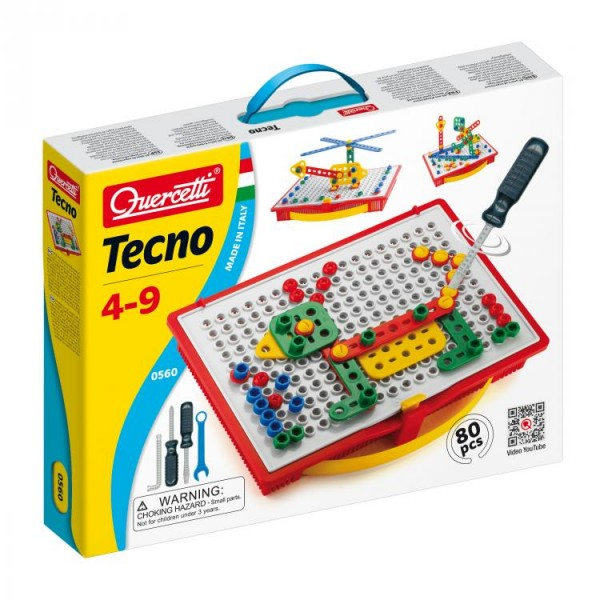 Joc Constructie Copii Tecno Quercetti Cutie Transport Si Depozitare 80 Piese